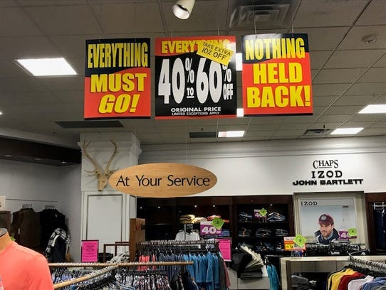 Signs throughout the Carson's store indicated discounts