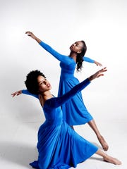 Shanté Gammage (right) and J'aime Griffith of Grambling's Orchesis Dance Company strike a pose.