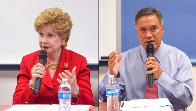 In this split image photo, Guam Delegate Madeleine Bordallo and former Governor Felix Camacho speak during a forum held by the University of Guam's School of Business and Public Administration students and Legal Studies students on Aug. 24. The two will face each other in the Nov. 8 General Election.