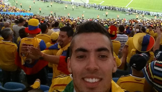 SDSU tennis player Luis Duque while watching Colombia at the World Cup.