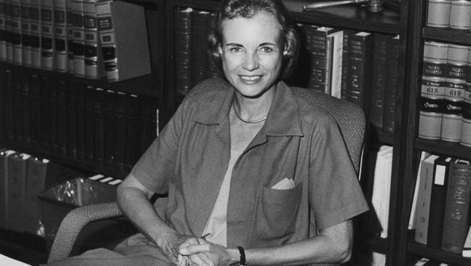 Sandra Day O'Connor, then an Arizona Court of Appeals judge, poses in her office just minutes after President Ronald Reagan nominated her to the U. S. Supreme Court in 1981.