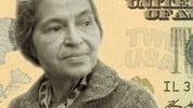 Simulated image of civil rights pioneer Rosa Parks, as it might appear on a $20 bill.