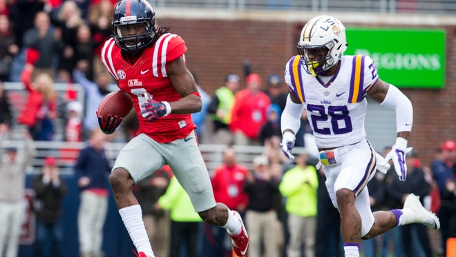 Receiver Quincy Adeboyejo and his Ole Miss teammates will try to get the program's first win in Baton Rouge since 2008 on Oct. 22.