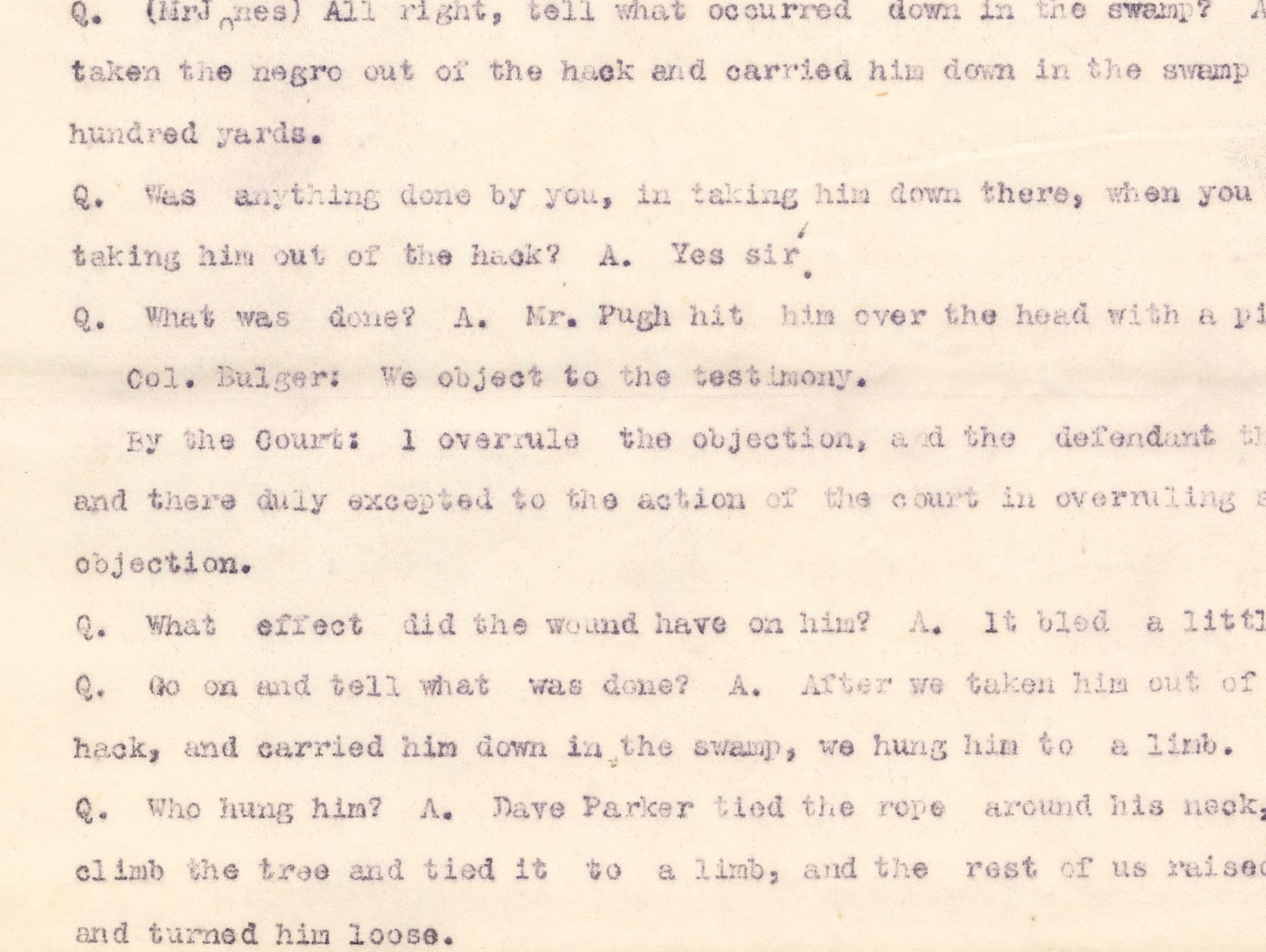 A portion of George Howard's testimony in the trial