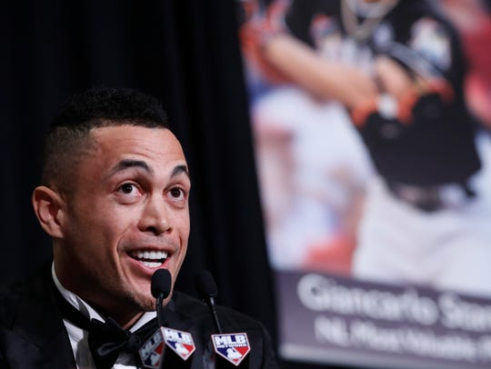 National League Most Valuable Player Giancarlo Stanton
