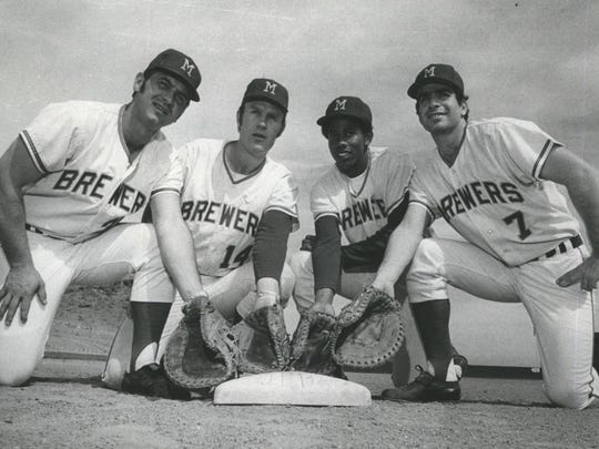 "In 1971, there was a ""four-glove"" jam for playing time at first base for the Brewers with Don Pavletich (from left), John Feiske, Dave Lindsey and Frank Tepedino."