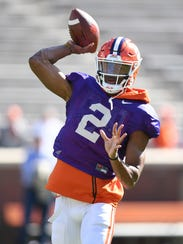 Clemson quarterback Kelly Bryant (2) during the team's