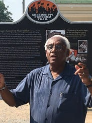 Leslie Burl McLemore speaks Tuesday at the rededication