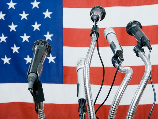 Microphones by American flag