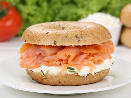 Bagel for breakfast with salmon fish
