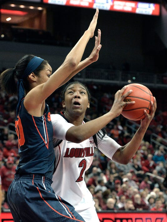 Louisville's Myisha Hines-Allen, right, looks to the basket through the defense of Syracuse' Briana Day during the first half of their NCAA college basketball game, Thursday, Jan. 29, 2015 in Louisville, Ky. (AP Photo/Timothy D. Easley)
