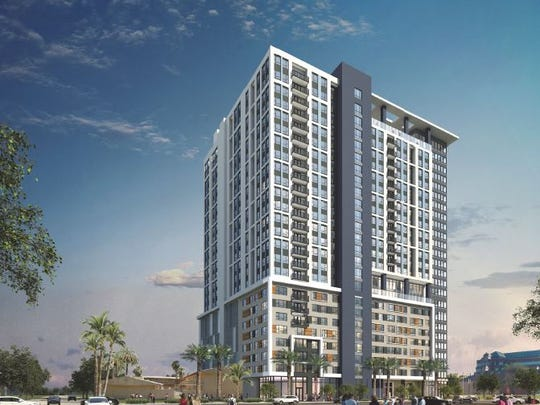 The proposed 26-story student housing high-rise at