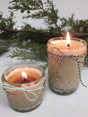 Cinnamon-vanilla-scented candles are easy to make and make a great holiday gift for neighbors, co-workers and party hosts.