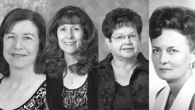 Pictured from left to right are Ginger Kinsey Masoner, Connie Louise Laurent Perez, Lucille Duarte Salas, and JoAnn Munson Young.