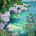 """""""Spring Splash at Cave Point,"""" painting by Madonna Siles, whose work is featured in November at Unitarian Universalist Gallery in Ephraim."""