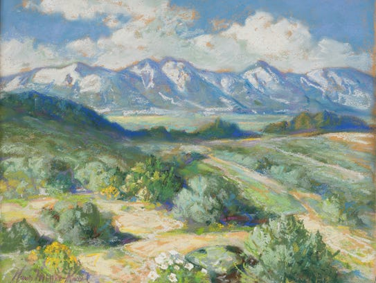 Carson Valley in Spring, 1952 Pastel on board, 21 x