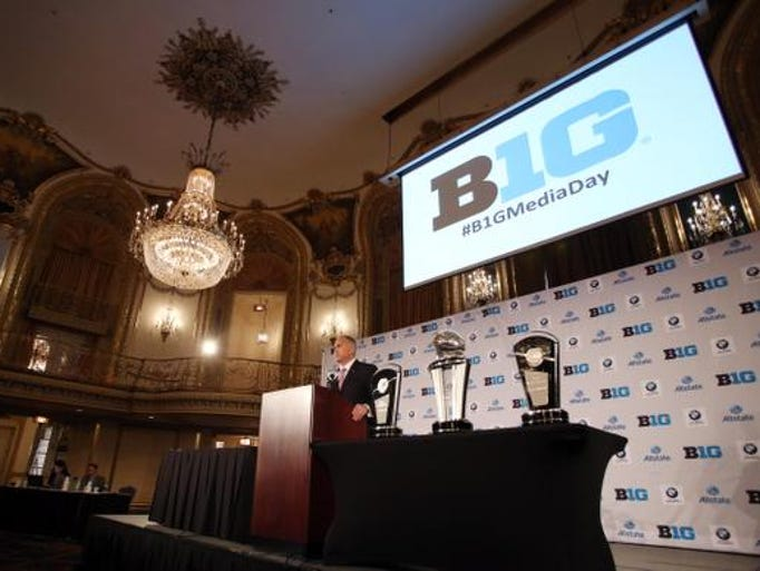 Rutgers Scarlet Knights head coach Kyle Flood addresses the media during the Big Ten football media day at Hilton Chicago.