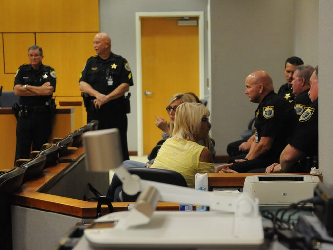 Brevard County Sheriff's Office personnel watch in the courtroom as convicted killer Brandon Bradley is sentenced to death in the March 2012 shooting death of Brevard Sheriff's Deputy Barbara Pill