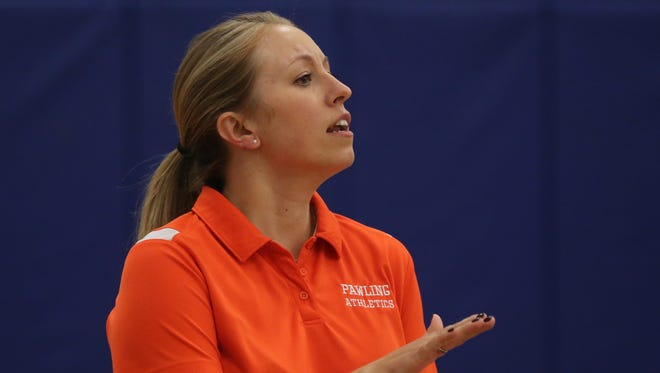 Pawling coach Jessica Pulford cheers her team on during Section 1 girls volleyball Class C finals at Hendrick Hudson High School in Montrose Nov. 4, 2016.