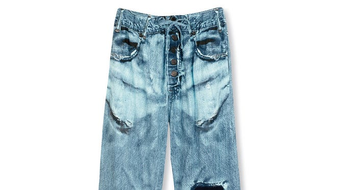 Want the look of a pair of faded, ripped, well-worn jeans, but the comfort of an elastic waistband? Here's your answer: these cotton lounge pants are printed to look like jeans. This is the El Camino of pants. $22.95 at SkyMall.com.