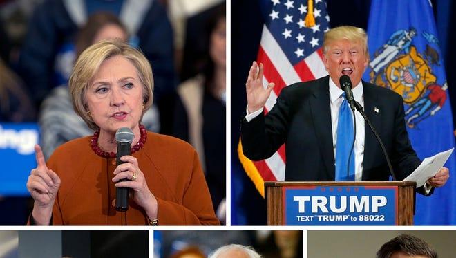 Clockwise from top left: Hillary Clinton, Donald Trump, John Kasich, Bernie Sanders and Ted Cruz.