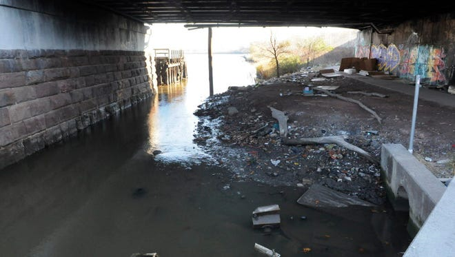 The lower Passaic River in Newark. The river is a federal Superfund site