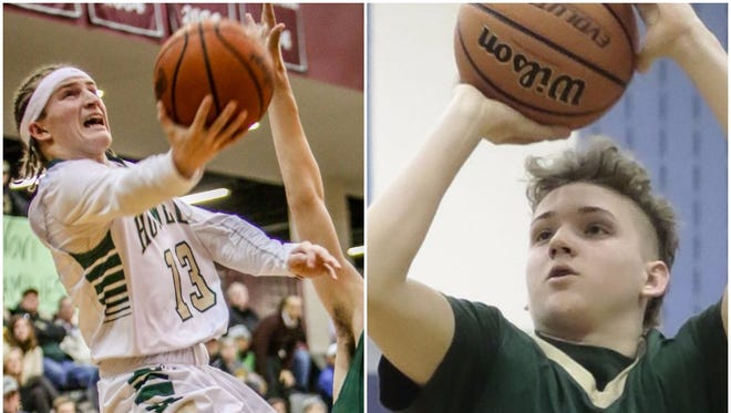 Howell's Johnny Shields, left, and Josh Palo, right, form the county's best 1-2 punch on the basketball court this season.