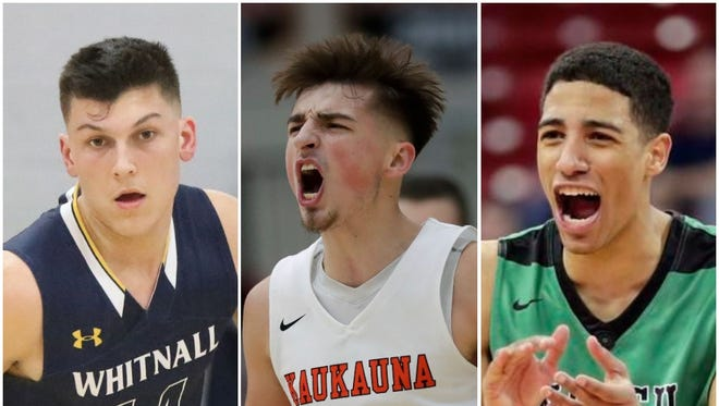 The race for the 2018 Mr. Basketball Award in Wisconsin featured three worthy candidates. The award went to Kaukauna's Jordan McCabe (center), who is heading to West Virginia, but Whitnall's Tyler Herro (left), a University of Kentucky recruit, and Oshkosh North's Tyrese Haliburton, an Iowa State recruit, also had strong cases.