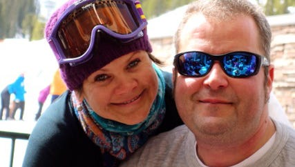 This photo provided by  Katie Thomey, shows Nik and his wife Teresa Rajala on March 2013 at the Big Sky Ski Resort in Monana. Ontario Provincial police say three Americans have died in a plane crash in northwestern Ontario.  Canadian authorities identified the victims as 41-year-old Nikolas Rajala, 40-year-old Teresa Rajala, and 36-year-old Lynn Bohanon, all of Grand Rapids. Police say the three were staying at a fishing lodge in the area, and were on a fishing trip when the crash occurred.