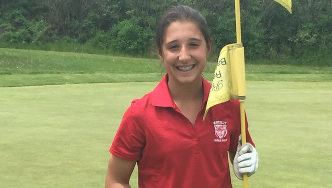 Waverly seventh-grader Gabby Picco after her second hole-in-one in May 2016 at Soaring Eagles Golf Course in Horseheads.
