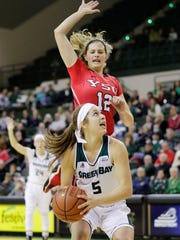 Youngstown State guard Chelsea Olson (12) defends against UW-Green Bay last season.