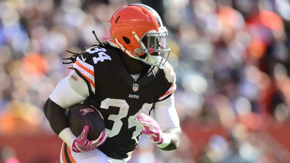 Isaiah Crowell rushed for just 17 yards on seven carries in Sunday's 30-0 loss to Cincinnati in Cleveland's final home game of the 2014 season.