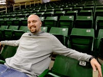Former Spartan Anthony Ianni pulls three Concord Middle School from the crowd on Feb. 4. Ianni has become a sought-after anti-bullying and autism awareness speaker, having given presentations at schools from New York to California.