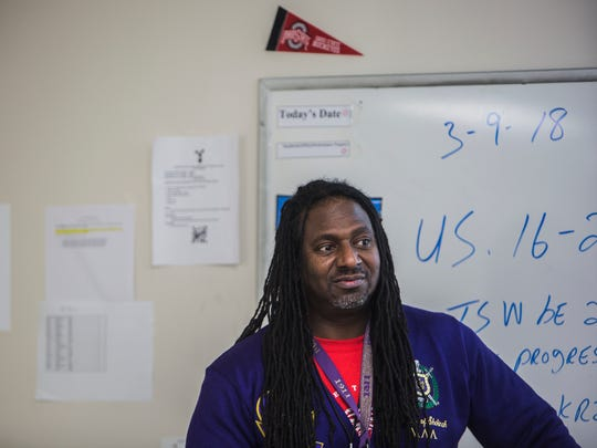 March 9, 2018 - Dr. Kirkland Hamilton leads his ninth-grade U.S. History class during a quiz at Southwest Early College High Friday afternoon. The school is in a partnership between Shelby County Schools and Southwest Tennessee Community College. The school opened this year and has 92 students.