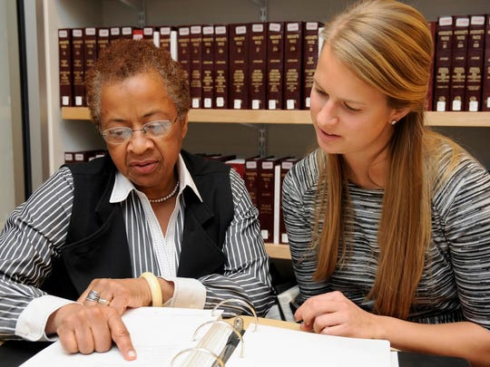 Professor Margaret Burnham, founder of the Restorative Justice Project, and law student Samantha Lednicky of Shelburne discuss their research into cold cases at the Northeastern University School of Law in Boston.