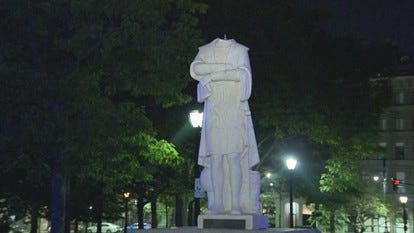A Christopher Columbus statue in Boston's North End was beheaded overnight Tuesday. WCVB photo