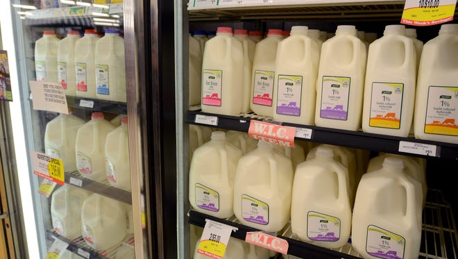 Milk is displayed for sale Monday, April 25, at Vinckier Foods in Wadhams.