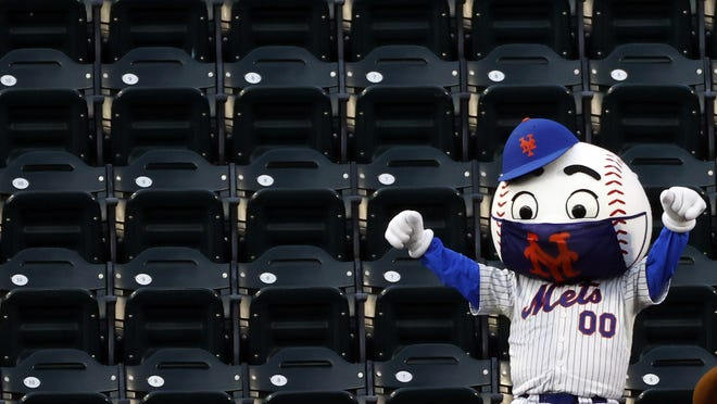 Mr. Met had plenty of room in the stands to cheer for his team as baseball opened the 2020 season.