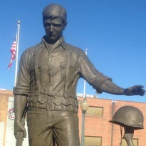 The man who modeled for this iconic statue in downtown Mountain Home says that the longer he held the M1 rifle, the more tired his arms felt and the more realistic it looked.