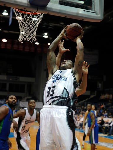 Razorsharks #35 Darren Moore goes up for two against the Indianapolis Diesels in the PBL Championship game at the Blue Cross Arena.