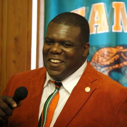 FAMU Athletic Director Milton Overton speaks during