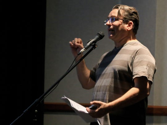 """Matt Marxteyn, director of the Red Rock Film Festival,  introduces the documentary """"Heart: Flatline to Finish Line"""" at the festival on Friday at the Hertige Center in Cedar City."""
