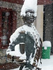 The Lafayette statue outside the Golden Plough Tavern