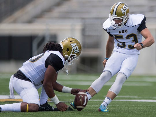 Kicker Hunter Hanson kicks a field goal during the Alabama State University Black and Gold Game at Hornet Stadium on the ASU campus in Montgomery, Ala. on Saturday April 28, 2018.