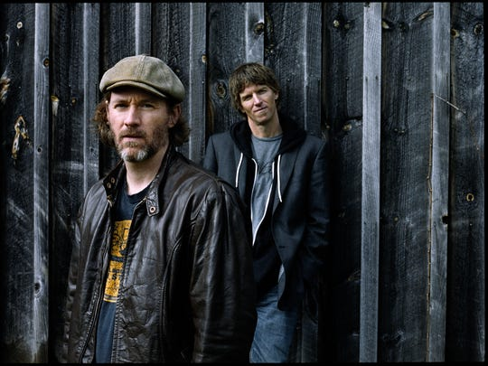 """Brothers Ian Alexy, left, and Teague Alexy — better known as the Hobo Nephews of Uncle Frank — pay tribute to Brett Favre with the song """"Old Number Four"""" on their new album """"American Shuffle,"""" which came out Tuesday. If they look familiar, the Minnesota duo has played Green Bay in the past, including a gig at IQ's."""