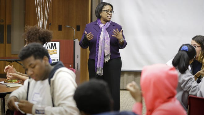 Milwaukee Public Schools Superintendent Darienne Driver talks in November to MPS students about MPS C.A.R.E.S., a new program to provide safe spaces for young people and community access to wellness services.