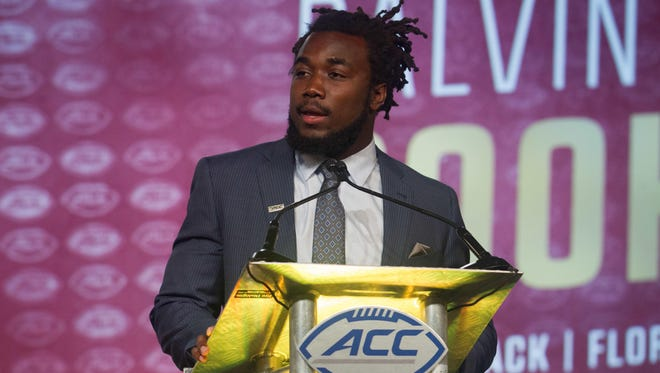 Florida State Seminoles running back Dalvin Cook speaks with the media during the ACC Football Kickoff at Westin Charlotte.