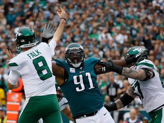 Philadelphia Eagles' Fletcher Cox in action during an NFL football game against the New York Jets, Sunday, Oct. 6, 2019, in Philadelphia. (AP Photo/Michael Perez)