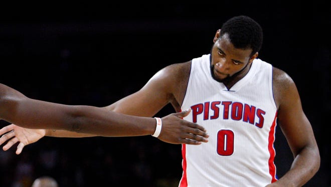 Detroit Pistons center Andre Drummond celebrates against the Miami Heat on April 4, 2015, at the Palace of Auburn Hills.