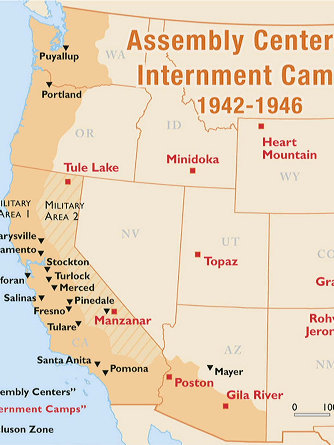 After the bombing of Pearl Harbor in December 1941, Presidential Order #9066 created an area of the West Coast off limits to Japanese Americans, forcing them into internment camps. The Exclusion Line, seen as the dark area, divided the Phoenix-area in two.